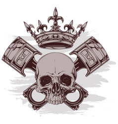 graphic human skull with crown and crossed pistons vector image