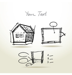 Hand drawn House plan sketch project for your vector image
