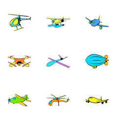 Jet icons set cartoon style vector