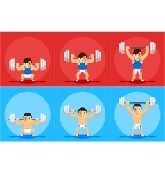 Weightlifting animation frames vector image vector image