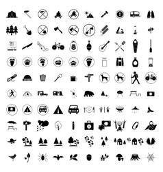 100 Camping icons set vector image