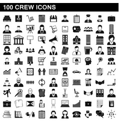 100 crew icons set simple style vector