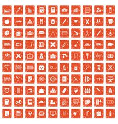 100 pensil icons set grunge orange vector