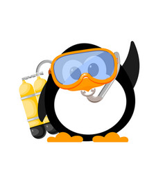 Abstract image of a cute penguin with a mask and vector