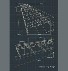 Airplane wings blueprint vector
