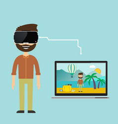 an image of a businessman virtual reality vacation vector image