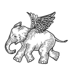 Angel flying baby elephant engraving vector
