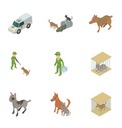 Animal protection icons set isometric style vector