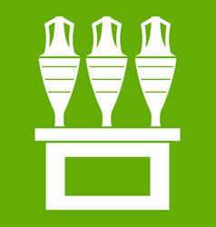 antique jugs icon green vector image