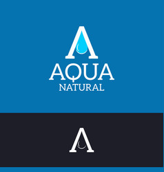 aqua water logo letter a drop on blue and black vector image