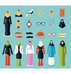 Arab woman accessories and clothes icons vector image