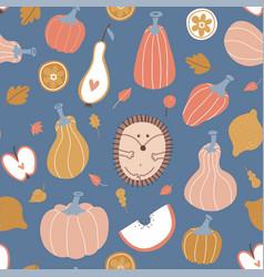 autumn seamless pattern hygge pumpkin fruits vector image