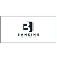 b negative square space banking logo vector image