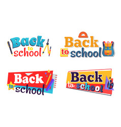 Back to school stickers set with stationary vector