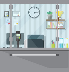 Bank teller workplace vector