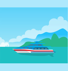 beautiful seascape and cute yacht color poster vector image