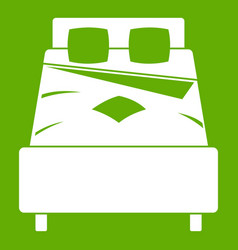 Bed icon green vector