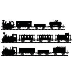 black silhouettes three vintage steam trains vector image