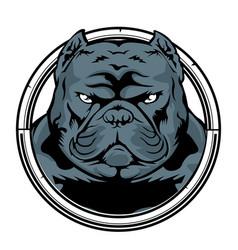 Bulldog annimal head ring logo icon vector