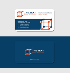 Business card 3d box blue and orange colors vector