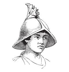 Carlovingian helmet vintage engraving vector image