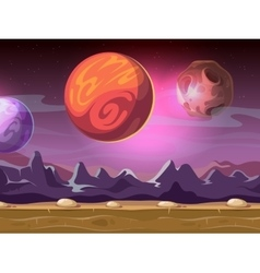 Cartoon alien fantastic landscape with moons and vector