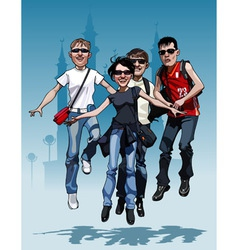 cartoon company teen friends joyfully jump vector image