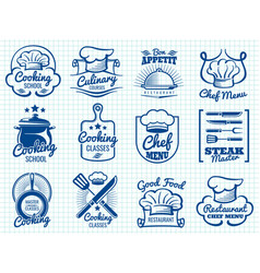 Chef retro labels collection - restaurant or cafe vector