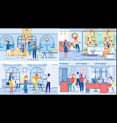 christmas celebrations on workplace and at home vector image