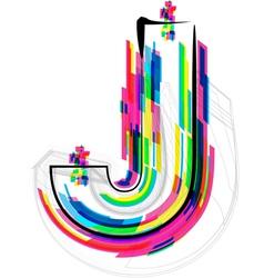 Colorful Font Letter J vector image