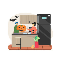 Couple prepare pumpkin for halloween party at home vector