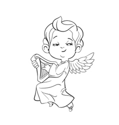 Cute baby angel making music playing harp vector
