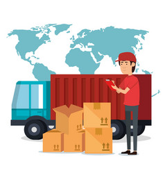 delivery worker with boxes character vector image