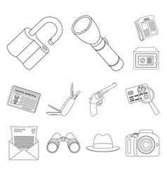 Detective and attributes outline icons in set vector