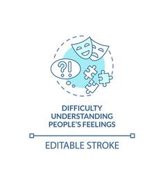 Difficulty understanding people feelings concept vector