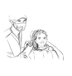 Doctor and patient happy smiling sketch vector