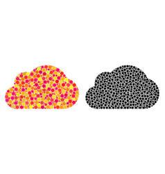 Dotted cloud mosaic icons vector