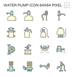 Drinking water pump and fluid pump icon set vector
