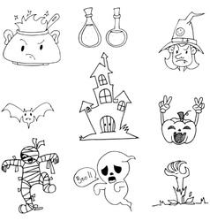Element halloween zombie ghost doodle vector
