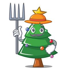 Farmer christmas tree character cartoon vector