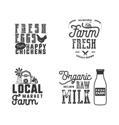 Farmers market organic food logo eco badges set vector