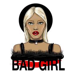 Fashion blond hair girl face vector