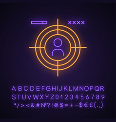 First-person shooter neon light icon vector