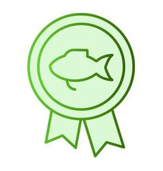 Fishing reward flat icon fishing medal green vector