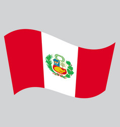 Flag of peru waving on gray background vector