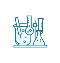 flasks with chemical icon chemistry science test vector image