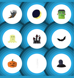 Flat icon celebrate set of zombie pumpkin vector