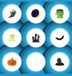 flat icon celebrate set zombie pumpkin vector image