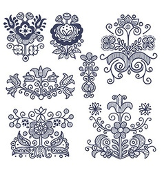 Floral folkloric elements isolated vector