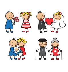 friendly and happy family vector image
